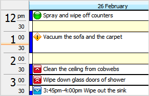 Calendar view for Scheduling in Chores List Software